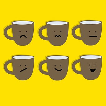 An image of coffee mugs going through the daily routine, some with discomfort.