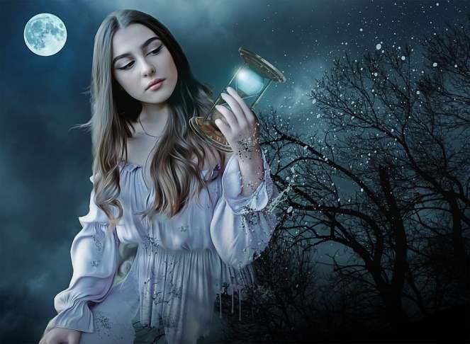 Gótico, fantasia, escuro, mulher, jovem, beleza