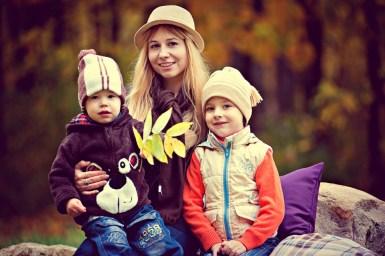 Parque, Chico, Familia, La Mamá Con Los Niños, Otoño