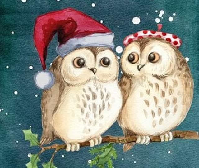 Merry Christmas Owls Winter Snow
