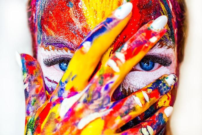 Paint, Makeup, Girl, Cosmetics, Color, Creativity