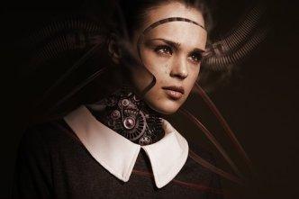 Roboter, Frau, Gesicht, Weinen, Traurig