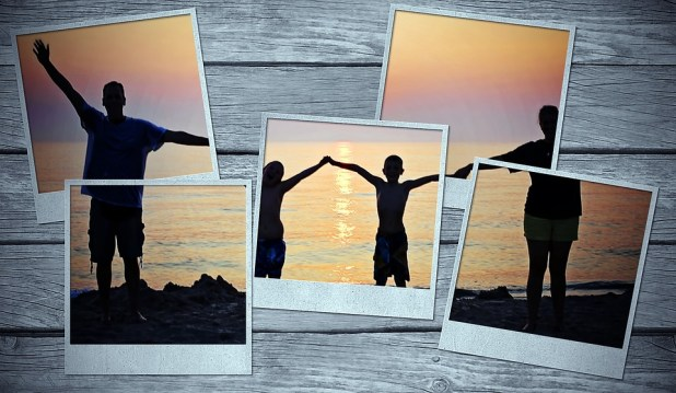Picture Frame, Family, Sunset, Backlighting, Photos
