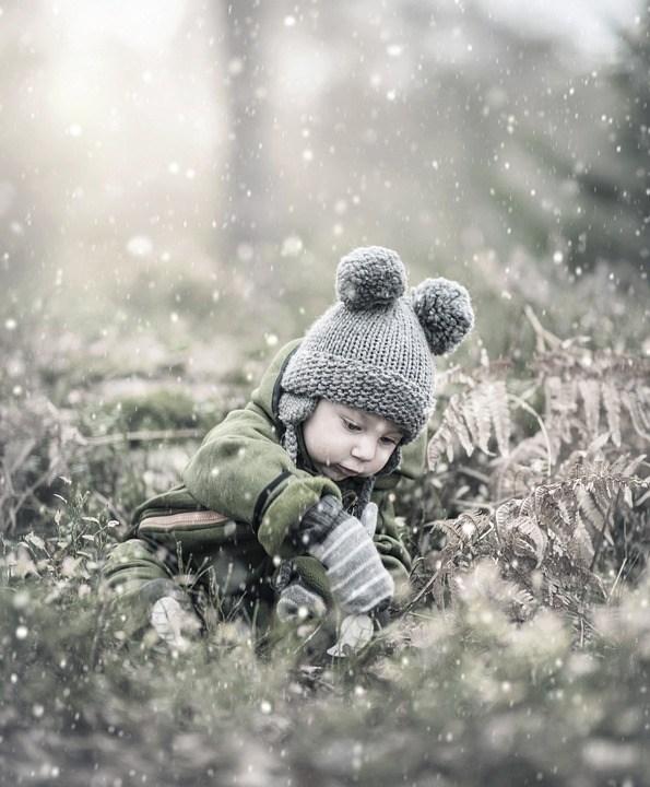 Bebê, Criança, Inverno, Menino, Jaqueta, Boné, Frio