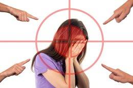 Mobbing, Frau, Gesicht, Stress, Scham Lastschrift
