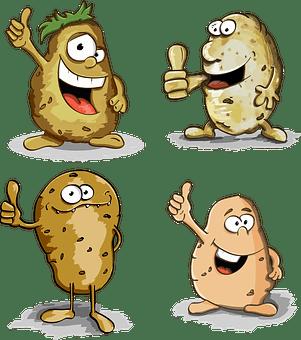ジャガイモ, 親指, 文字, 漫画, かわいい, 塊茎, フルーツ