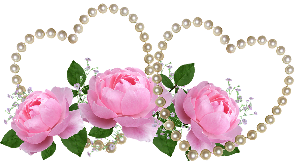 Free Photo Valentine Pink Roses Pearl Hearts Free