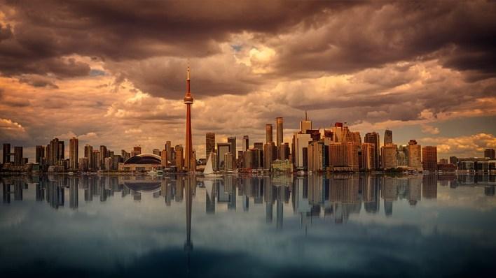 Toronto, Horizonte, Águas, Pôr Do Sol, Amanhecer