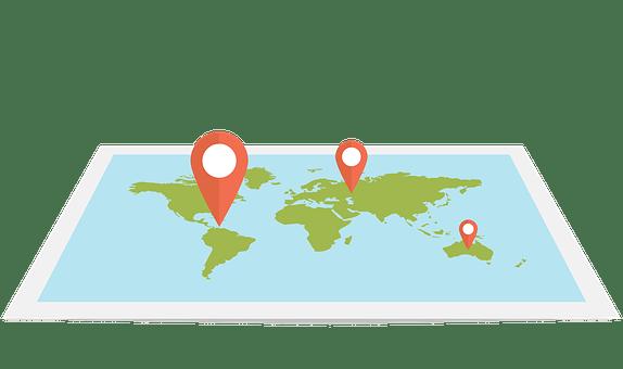 Web, Map, Flat, Design, Pin, World
