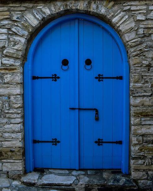 Door, Wooden, Blue, Doorway, Entrance, Architecture