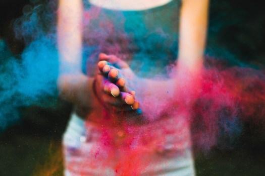 Colori, Polvere, Colore, Holi, Ritratto, Blu, Ragazza