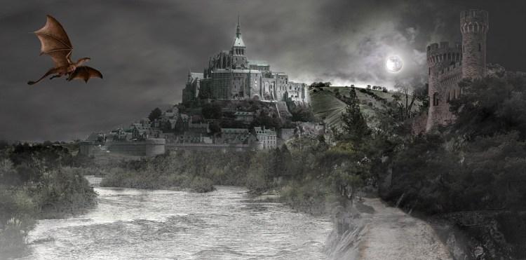 Fantasy, Composite, Dragon, Castle, Moon, River