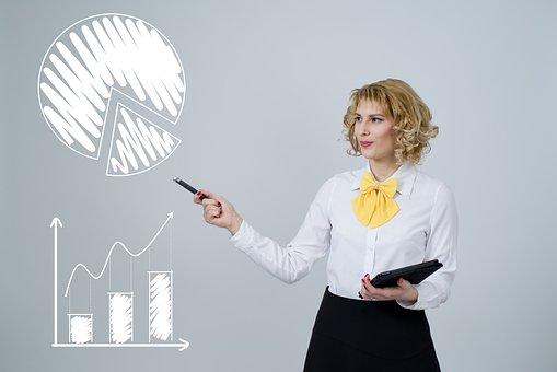 分析, グラフ, チャート, データ, 女性, 仕事, ファイナンス, 投資