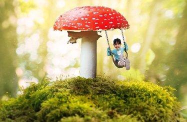 Fantasy, Girl, Swing, Mushroom, Moss