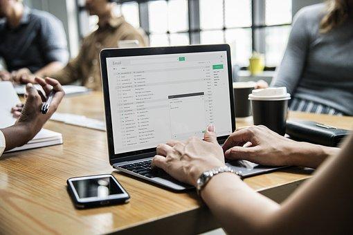 コンピュータ, ラップトップ, 技術, オフィス, ビジネス, 同僚, 通信