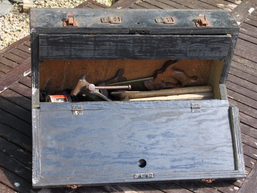 old wooden carpenters toolbox