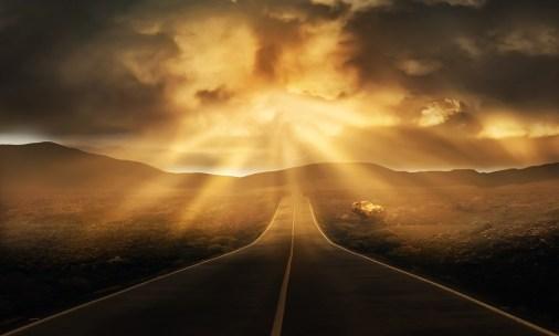 道路, 風景, 地平線, ストレート, 雲, パノラマ, ミステリー, 曇った, サンビーム, 光, 冷壁紙