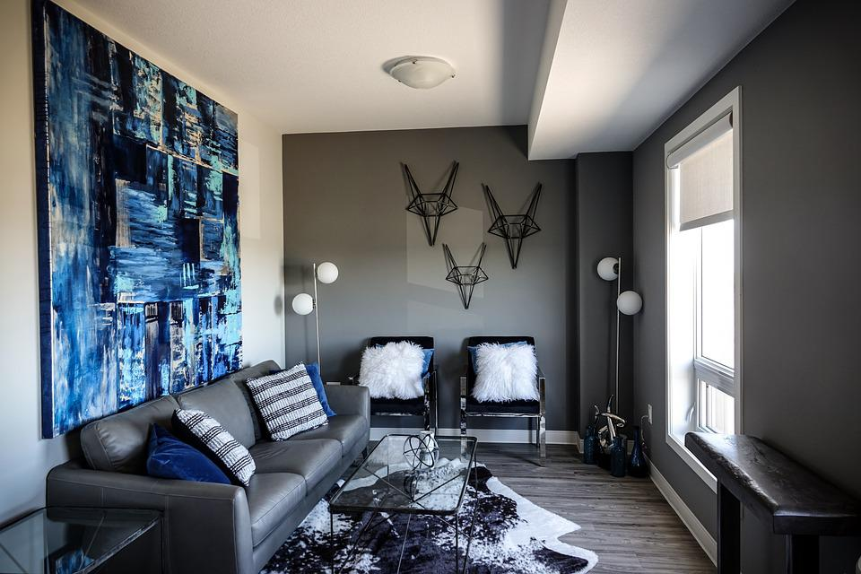 blue color living room accent