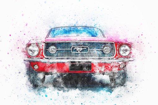 Car, Old Car, Oldtimer, Art, Watercolor