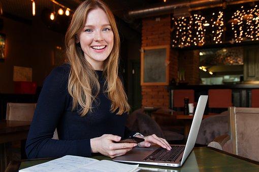 ビジネス, レディ, 女性, 女の子, コンピューター, 笑顔, カフェ, 仕事