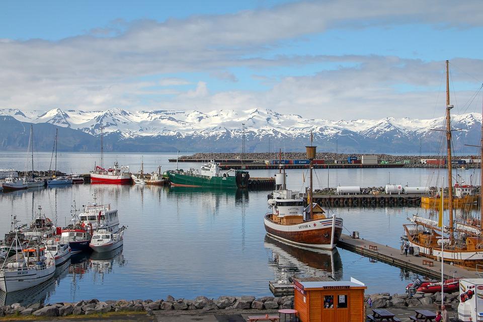 Husavik, Islandia, Puerto, Barcos, Paisaje, Nave, Mar