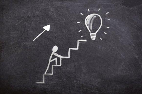ボード, チョーク, ビジネス, ジョブ, 仕事, 成功, ゴール, 階段を上