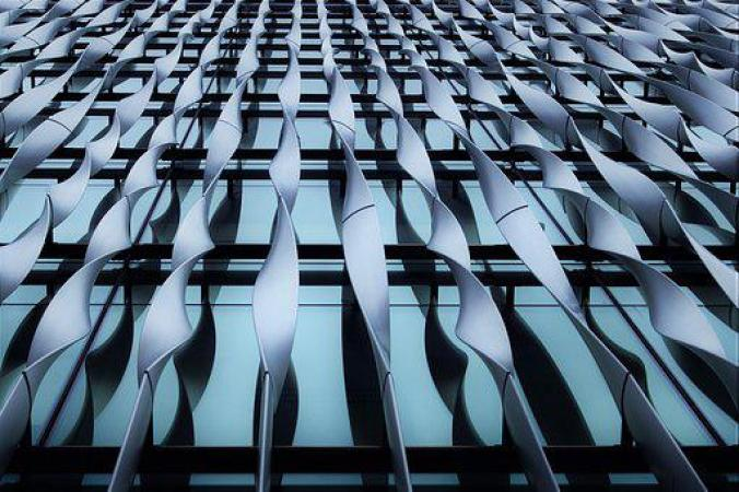 Twisted, Metal, Window, Glass, Building