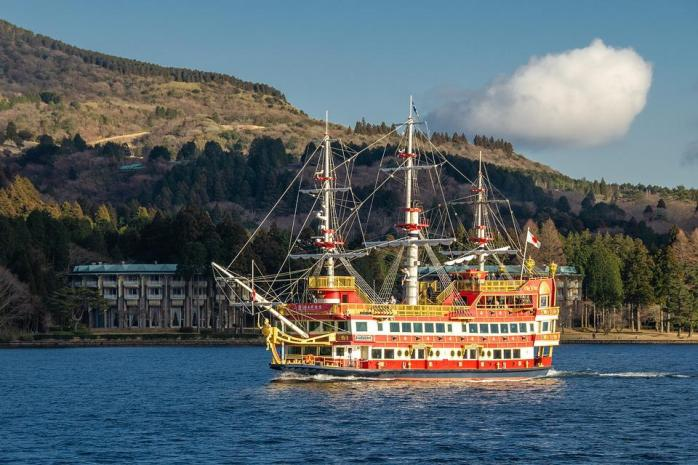 芦ノ湖、箱根、湖、海賊船、輸送、日本