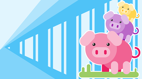 豚, 動物, ピグレット, ファーム, 哺乳動物, 貯金箱, カラフルです