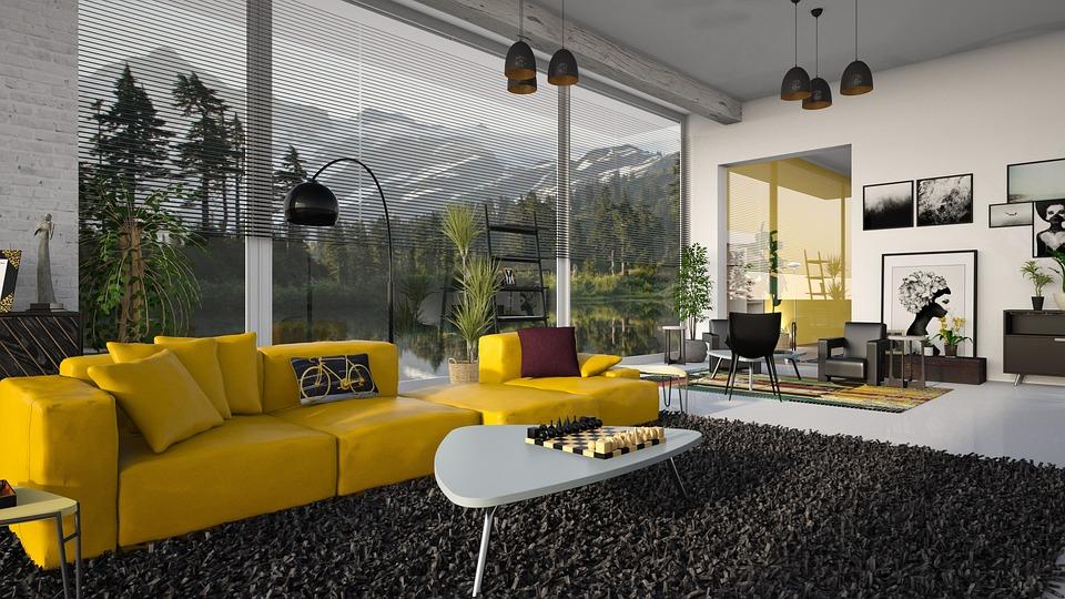 Yellow Living room Furniture Design