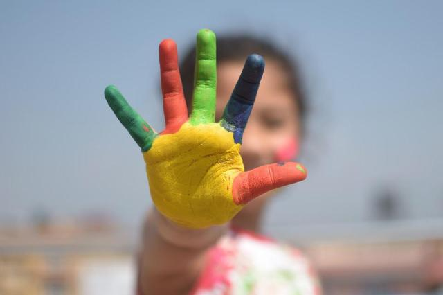 Colorido, Cinco Dedos, Criança, Dedos, Brincalhão