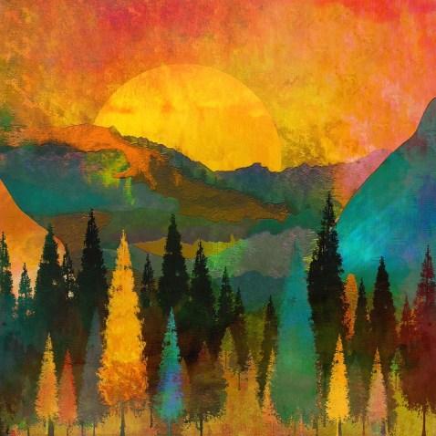 Trees, Mountains, Sun, Sunrise, Warm, Red, Yellow