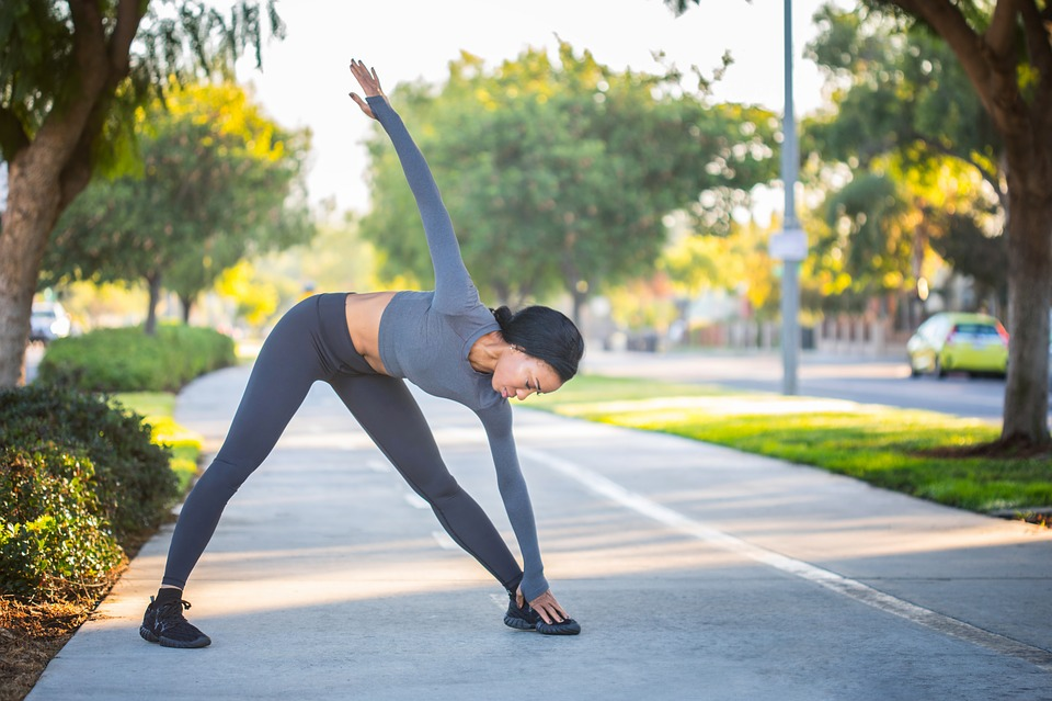 Sport, Stretch, Fitness, Girl, Black, Outdoor, Runner