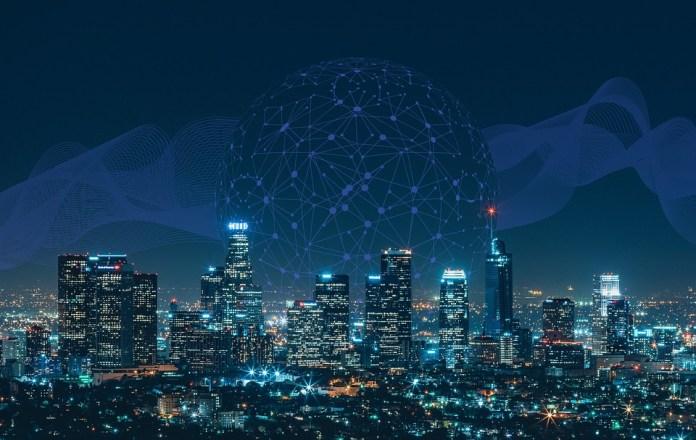 Smart, City, Communication, Network, Skyline, Night