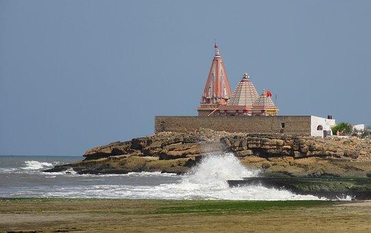 Temple, Seaside, Waves, Splashing