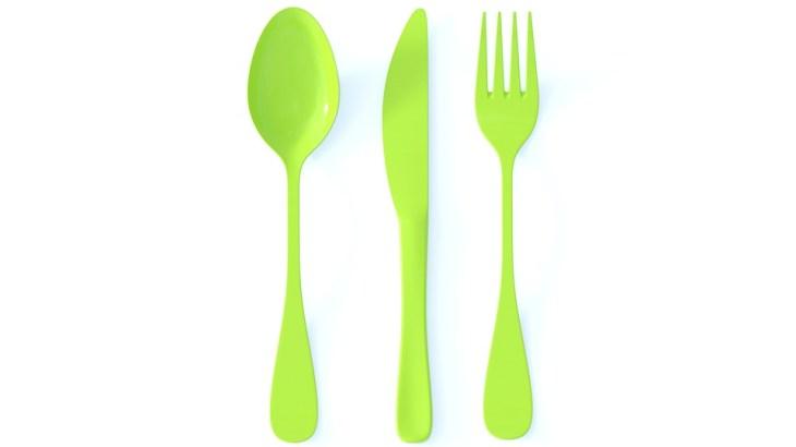 Cutlery, Knife, Fork, Spoon, Green, Plastic
