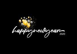 Gelukkig Nieuwjaar, 2020, Belettering, Zwart, Goud