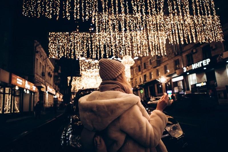Hiver, Ville, Citylights, Lumières, Fille, Christmas