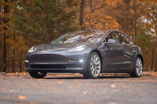 Car, Fall, Vehicle, Tesla, Model 3