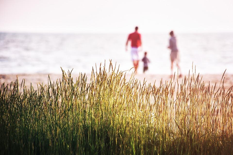 Sea, Grass, Nature, Beach, Coast, Family, Landscape