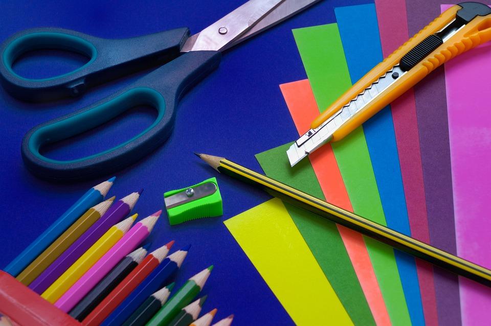 鉛筆, ハサミ, 教育, 備品, インチ, 学校, 事務所, 英知, グレード, 幹事, スチール, 赤