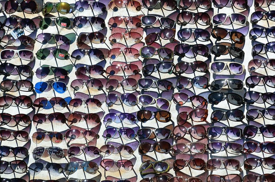 Gafas, Gafas De Sol, Venta, Market, Stall, Plastic