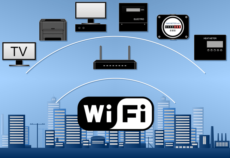 Wi-Fi, Rete, Router, Edificio, Contatore Per Acqua