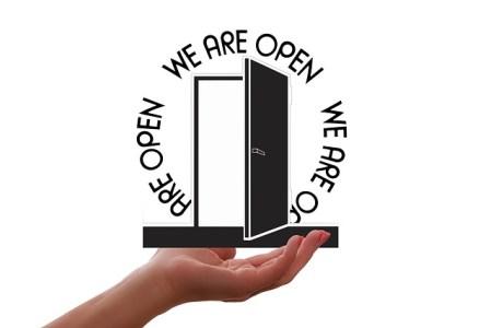 Porte, Ouverte, Présentation, Main, Ouverture, Entrée