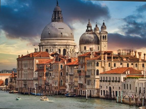 大運河, ヴェネツィア, 教会, イタリア, サンタ・マリア ・ デッラ ・ サルーテ, ドーム, 市, 建物