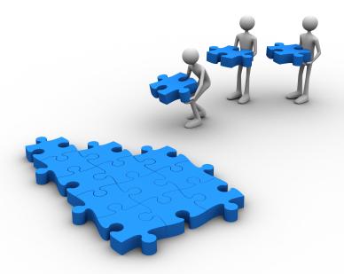 Cartoon men assembling a jigsaw puzzle together