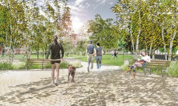 """Propuesta para los Accesos, """"Parques sin Fronteras"""". © Departamento de Parques de Nueva York"""