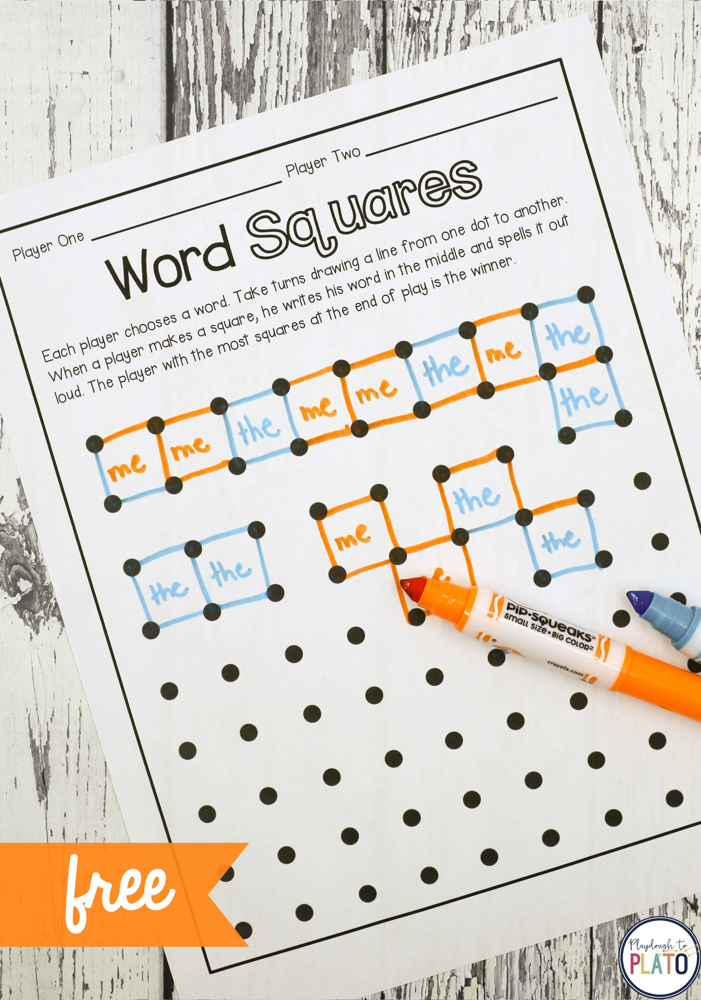 Sight Word Game Magic Squares
