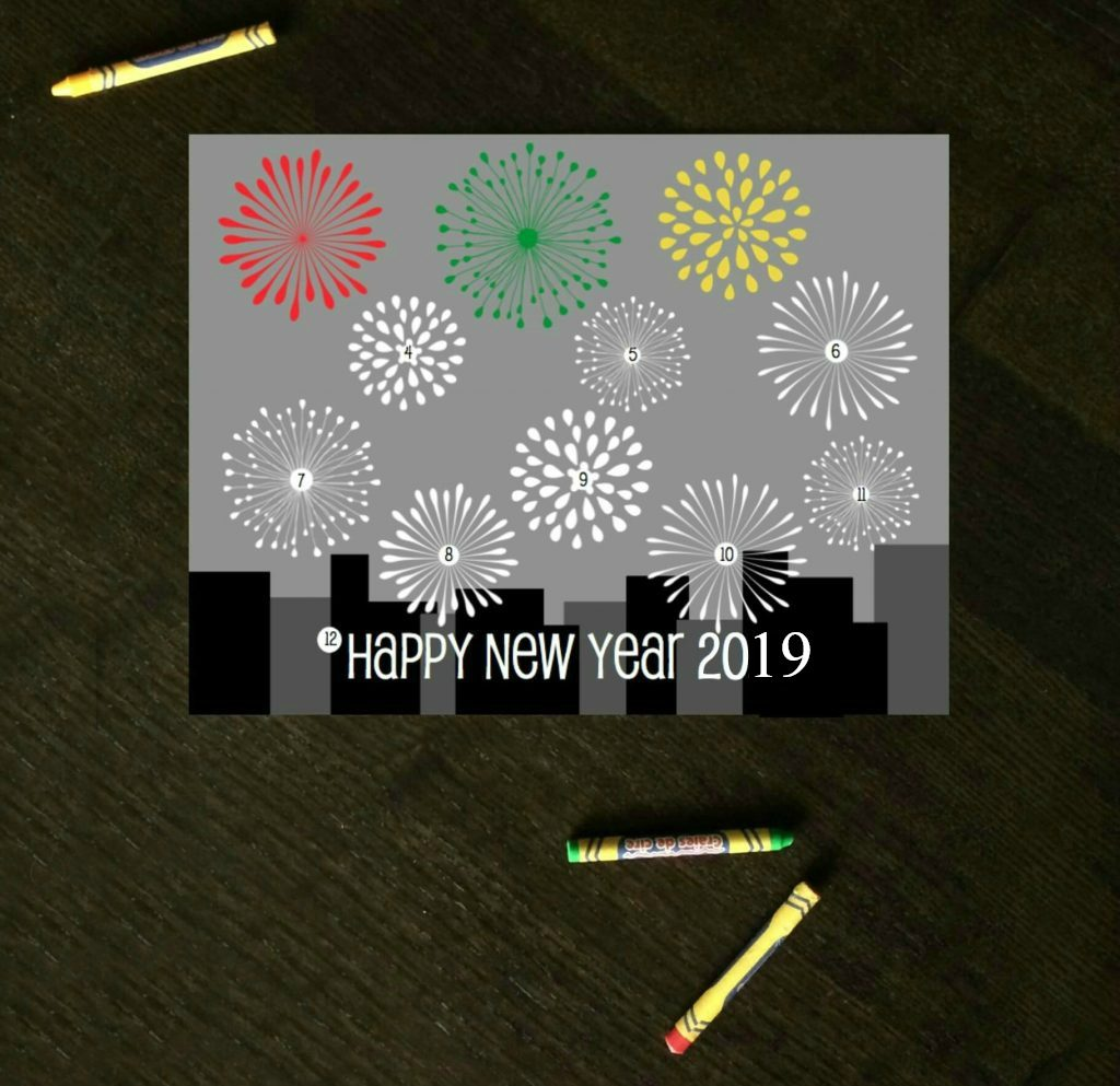 New Year S Eve Countdown Coloring Sheet Playdough To Plato