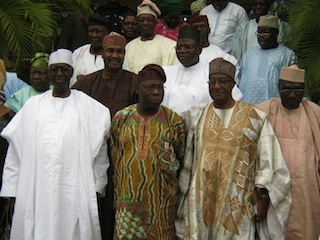 The PDP leaders after the meeting with Obasanjo